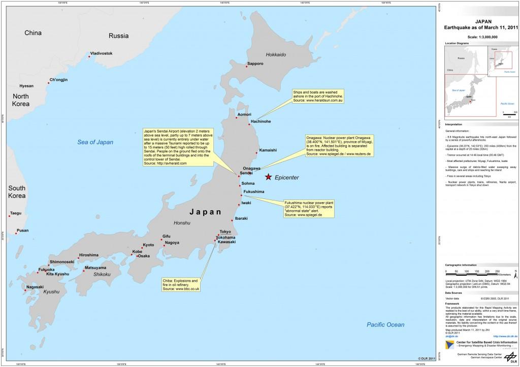 Übersicht: Erdbeben in Japan – ZKI Crisis map  (Bildrechte: DLR)