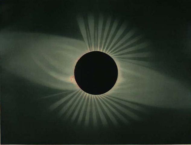 Die totale Sonnenfinsternis vom 29. Juli 1878 in Creston, Wyoming Territory (Nordamerika), gemalt von Étienne Léopold Trouvelot.